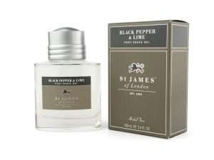 St James of London black peper and lime post shave gel