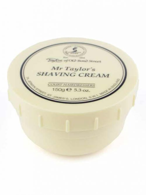 Pot met scheercreme van het merk Taylor of old bond street de geur is Mr Taylors