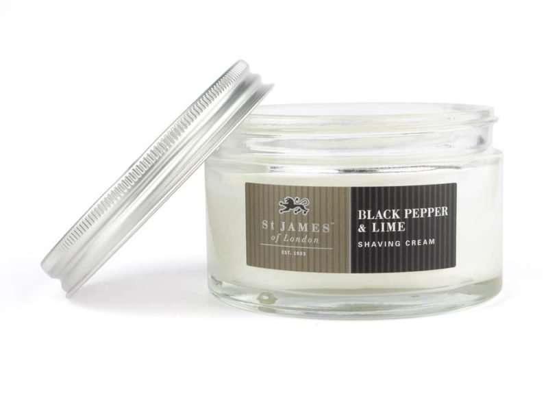 st James of London black peper en lime scheercrème