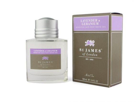 st James of london lavender and geranium post shave gel
